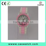 Adorable Roman dial child's timepieces, custom made girl's watch, double color jelly strap watch, with various color bezel