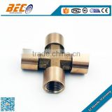 Customed acceptable four ways female or male standard thread type brass nipple across