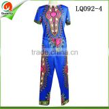 Fashion design african stretch fabric clothes shirts match pants royal blue women and men suit