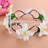 Handmade rose flowers beach head wreath for wedding bridal headdress Hair Accessory headband flower