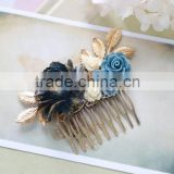Dark Blue Navy Blue Flower Hair Comb, Gold Dusky Blue Ivory Rose Gold Leaf Hair Comb, Navy Blue Wedding Bridal Comb