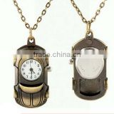 Vintage Car Toys style Simple Round Antique Bronze Round Pocket Watch Necklace Car Watch Necklace