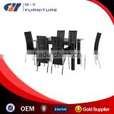 Clear Glass Dining Set With 6 Black Dining Chairs