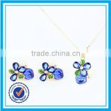 Cheap price synthetic blue luster cz jewelry opal jewelry italian gold plated jewelry sets