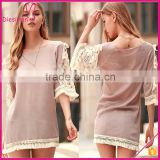 Perspective Lace Splicing Round Neck Sexy 3/4 Sleeve Shift Dress
