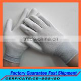Grey Color Carbon Filber ESD Palm PU Coated Polyester Gloves with rubber overlock,Hand Gloves China Manufacturer