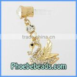 Wholesale Newest Cell Phone 3.5mm Earphone Dust Plug Gold Swan Dangle Pave Crystal Dustproof Jack MDP-M01