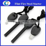Black Magnesium Ferro Rod Fire Starter with Whistle