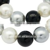 "Shell Pearl Beads Strands, Polished, Round, Dyed, Multicolor, 16mm, hole: 1mm, 25pcs/strand, 15.7""(BSHE-Q007-7)"