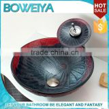 Hand Painted Round Design Tempered Glass Table Top Small Bathroom Sinks With Waterfall For Dining Room