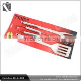 3-Piece Stainless Steel BBQ Tool Set with Back Card Packing