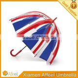 British flag transparent straight rain mushroom dome red blue long-handled kids air umbrella
