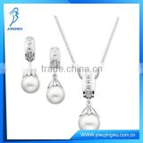 Freshwater Pearl and Diamond Necklace 925 Silver Jewelry Set