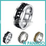 Sz6-15 Ring Silver/Black/Gold Rotatable Chain Stainless Steel Men's Wedding Band ring