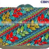CB0132-15 unique design Africa purse handbags with rhinestone Evening party clutch purse