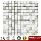 IMARK Super White Mosaic Tiles with Marble Mosaic Tiles and Resin Mosaic Tiles for Wall Decoration Code IXGM8-103
