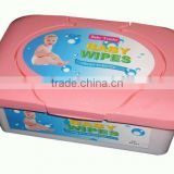 80pc baby wet wipe packed in plastic box, China supplier