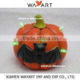 2015 Friendly Resin Pumpkin With Bat design and Led light Table Top Halloween Decoration