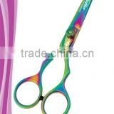 Golden locks hair styling shear 5 inch removable finger rest adjustable tension dial PVD rainbow titanium coated finish