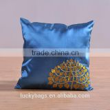 Bright satin cloth pillowcase soft noble fabric pillowcase with hmong embroidery pillow gold tree