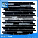 Pure black strip shine marble stone tiles for kitchen