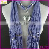 2014 Fashion Women Lady Beads Soft Jewelry Heart Pendant Necklace Scarf Stole Shawl Neck Wrap Gift