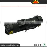Wholesale OEM Q5 LED mini 3w police Zoomable flashlight with 14500 batteiy and charger