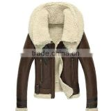2014 brown lamb wool shearling women leather jacket with fur collar