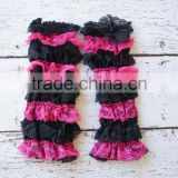 2015 Hot Sale Baby Girls Black and Pink Lace Ruffle Leg Warmers
