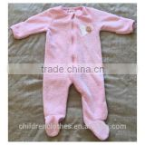 2017 wholesale boutique coral fleece sweet pink baby girl romper 100%cotton bodysuits clothing