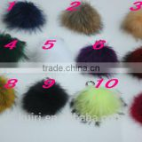 DIY 13cm Real Raccoon Fur Pompoms Fur balls for knitted beanies keychain and scarves shoes Real fur pom pom Wholesale