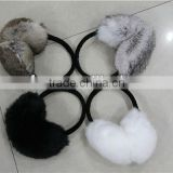 Janefur lovely rabbit fur earmuffs wam in winter/natural black and white