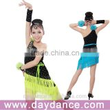 Girls Kids Latin Dance Costumes Fringe Children Ballroom Stage Dance Wear