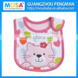 Pink Cat embroidery TPU Waterproof Baby Bib For Girl