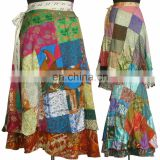 Indian Vintage Silk Sari Patchwork double layered and reversible wrap-skirt Magic Around skirts dress beach wear Wraparound