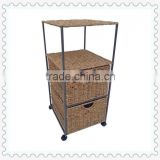 weaving seagrass floor standing modern bathroom cabinets with wheels removable with three drawers