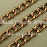 Gold Bright Brown Curb Twist Aluminum Chain 10x7mm