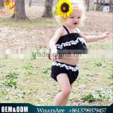 2016 Ins Hot Sale Baby Girl Clothing Toddler Girl Two Pcs Clothes Set Black Stripped Baby Girl Outfits