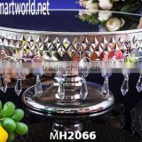 Antique cake stand with hanging crystals/Crystal cake stand/Decorative wedding cake stand (MH-2066)