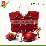 AFRICAN wax fabric women high heel dress shoes italian women shoes and clutch bag to match