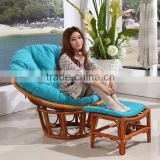 Round Large Adult Natural Rattan Wicker Cane Wood Plush Sleeping Relax Lounge Bowl Saucer Chair with stool                                                                         Quality Choice