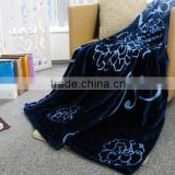 High Quality Flannel With Carving Blanket /Back Print Blanket/150D/288F Dyed Plain Style
