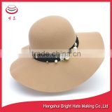 Beige Color Soft Wool felt Floppy Hats No Glue