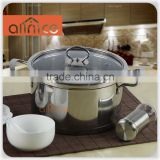 Wholesale 24/26cm stainless steel cooking pot with glass lid and double bottom for induction cooker