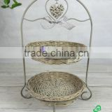 Two Tier Rustic Metal Stand with Wicker Plate and wicker heart and Ribbon Bow Decorated (46H-097)