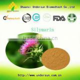 Natural MILK THISTLE extract powder 80% silymarin 100% water soluble/silymarin powder/