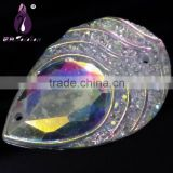 Wholesale 20*30mm Teardrop Flatback Rhinestone Buttons ,2 Holes,Flat Blac Water Drop Shape Resin Cabochons ,Garment Accessory                                                                         Quality Choice
