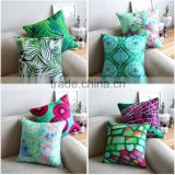 cotton linen realistic digital colorful bright green plant and geometry printed sofa chair home decor cushion cover pillow case