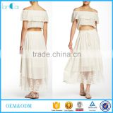 2016 fashion short sleeve off shoulder crop top and long skirt ladies designer skirt suits