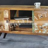 ANTIQUE RECYCLE WOOD TV CABINET WITH IRON WHEEL, FOR HOME FURNITURE